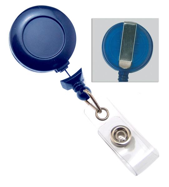 2120-3031 Black Badge Reel With Clear Vinyl Strap /& Belt Clip